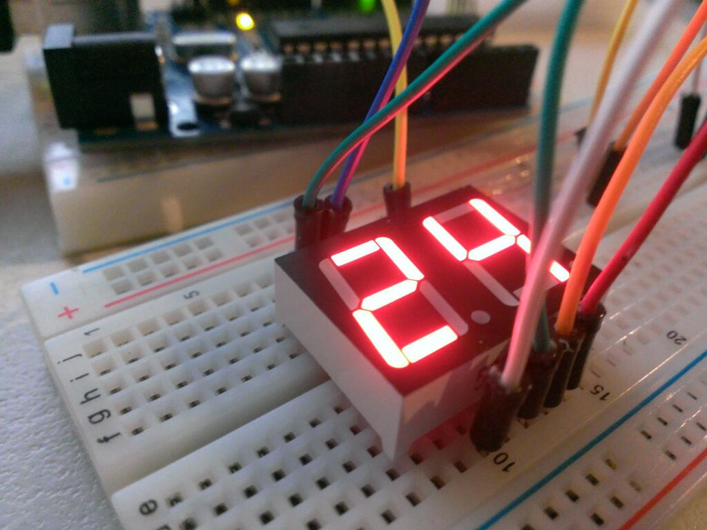 Using A 7 Segment Led Display W Arduino Uno Logic Diagram For Bcd To Decoder See This In Slightly More Dynamic Example We Can Adapt The Make Act As Counter Obviously Only Up Number 99